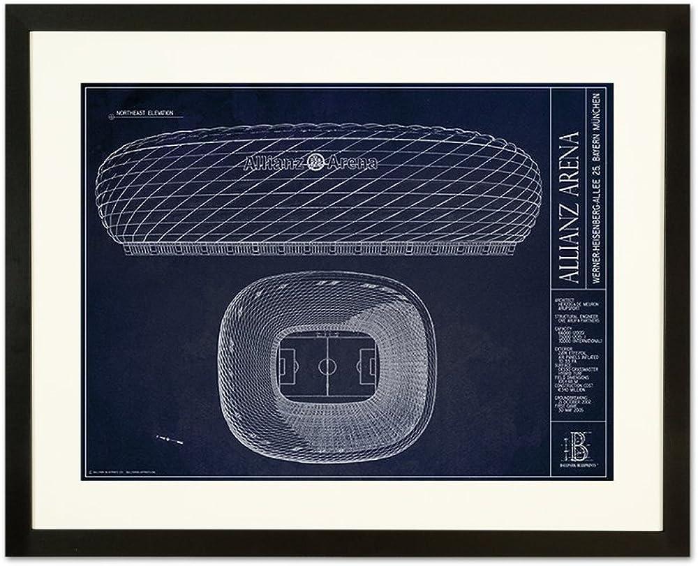 Allianz Arena Blueprint Style Print