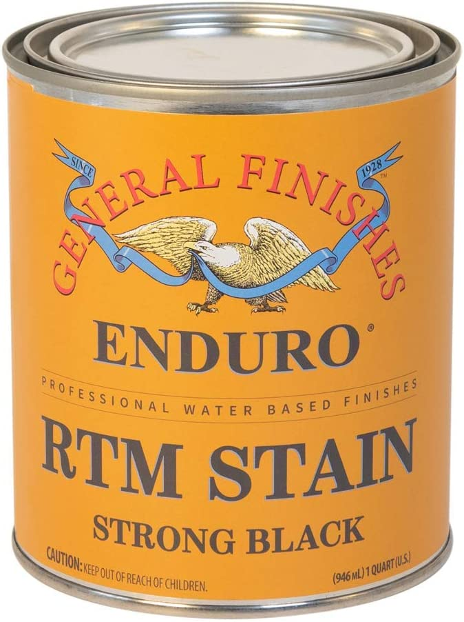 General Finishes Enduro RTM - Tinte de madera a base de agua, 1 cuarto de galón, color negro fuerte