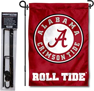 College Flags & Banners Co. Alabama Crimson Tide Circle Logo Garden Flag and Flag Stand Pole Holder Set