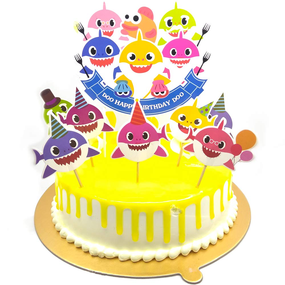 v39buy Baby Shark Birthday Cake Topper , Cute Shark Cupcake Toppers For Childrens Party , Doo Doo Baby Shower Cake Supplies And Decoration For 1st Kid Birthday With Card Board