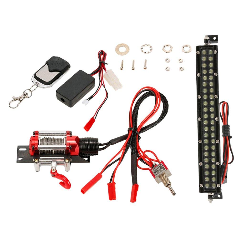 MagiDeal LED Lampen + Automatisches Seilwinde/Winde mit Wireless Remote Receiver Set für 1:10 RC Crawler