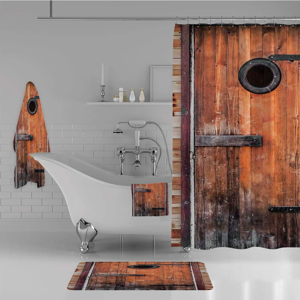 iPrint Bathroom 4 Piece Set Shower Curtain Floor mat Bath Towel 3D Print,Knotted Pine Wood with Control Window Lumber,Fashion Personality Customization adds Color to Your Bathroom.