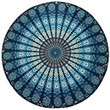 Resulzon Indian Mandala Hawaii Sunproof Round Beach Throw Tapestry Hippy Boho Gypsy Tablecloth Beach Shawl 60 Inches - Navy Blue