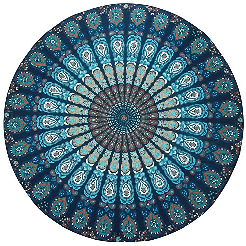 (Resulzon Indian Mandala Hawaii Sunproof Round Beach Throw Tapestry Hippy Boho Gypsy Tablecloth Beach Shawl 60 Inches - Navy)