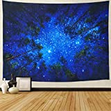 Amonercvita Starry Forest Tapestry Wall Hanging Blue Forest Tapestry 3D Night Forest Tree Tapestry Hippie Galaxy Milky Way Tapestry for Dorm Living Room Bedroom