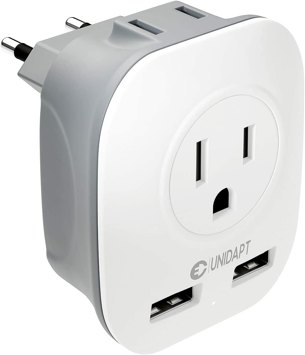 European Plug Adapter Power Charger, Unidapt USA/Canada to EU Europe Outlet Plug, European Travel Plug Adapters from USA Us to EU Europe Italy Swiss, 4 in 1 AC & USB Outlet Wall Adapter Type C