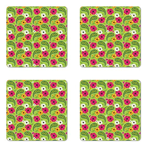aster Set of Four, Floral Pattern with Vivid Paisley Print Old Vintage Boho Style Decor, Square Hardboard Gloss Coasters for Drinks, Pistachio Pink Orange ()