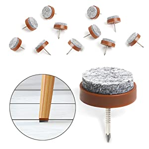 "40pcs Furniture Felt Pad Round Heavy Duty Nail-on Slider Glide Pad Floor Protector for Wooden Furniture Chair Tables Leg Feet(Dia 1.1""/28mm,Brown)"