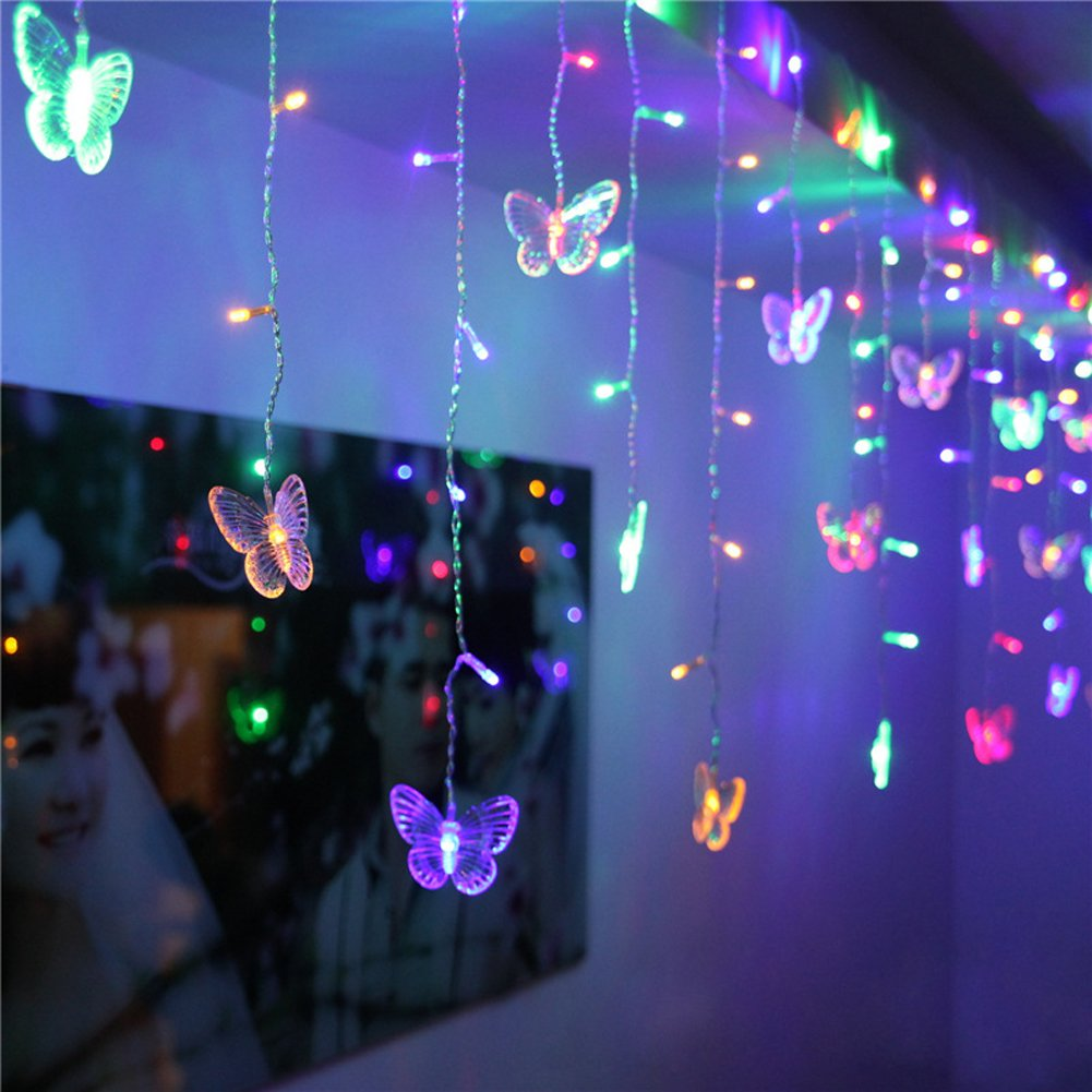 SHHE Fairy Lights 1.5M x 0.5M 48 LED Butterfly Curtain Lights String ...