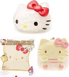 Hamee Sanrio Squishy Hello Kitty Collector's Set - [1 x Chigiri Pan Sweet Roll Keychain Squishy] [1 x Character Milk Toast Squishy] [1 x Water Bead Ball Squishy] [3 Pc.]