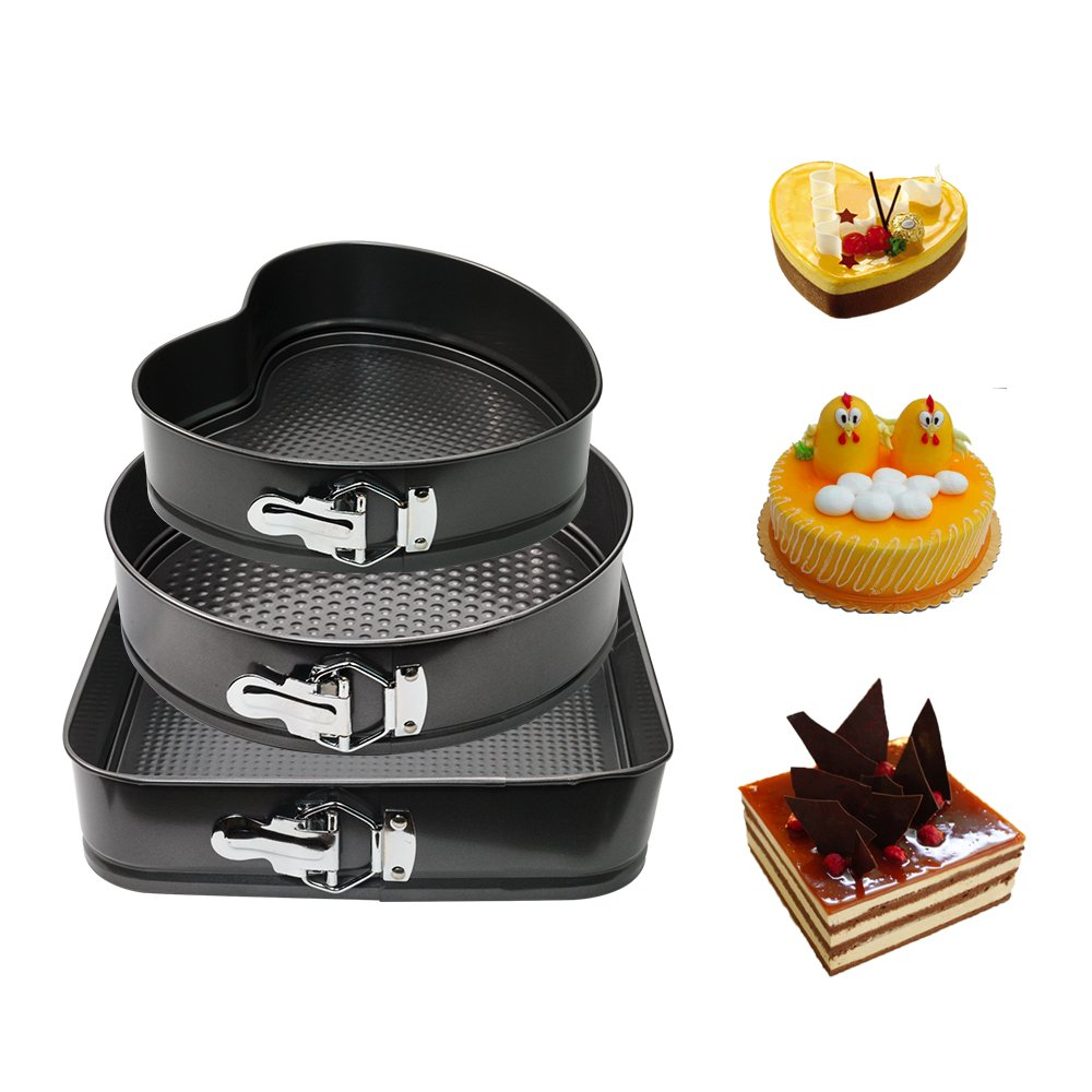 WARM MAISON Nonstick Springform Pan Set Leakproof 10.5inch Square 10 inch Round 9 inch Heart Baking Pie Cheese Cake Molds Pan Set with Quick Release Latch and Removable Bottom