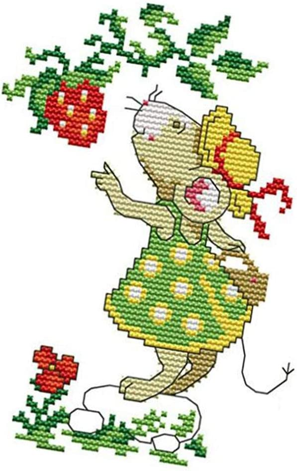 11CT Baoblaze Stamped Cross Stitch Kits Preprinted Pattern Counted Embroidery Starter Kits for Beginner Kids and Adults Mouse Strawberry DIY Artwork Needlecrafts