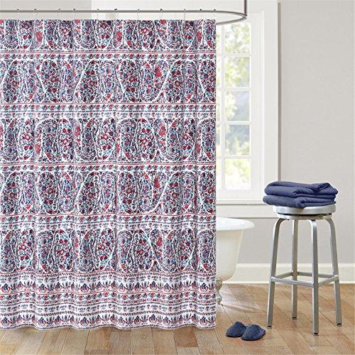 Echo Design Woodstock Cotton Printed Shower Curtain BlueRed 72x72 (Echo Shower Curtain)