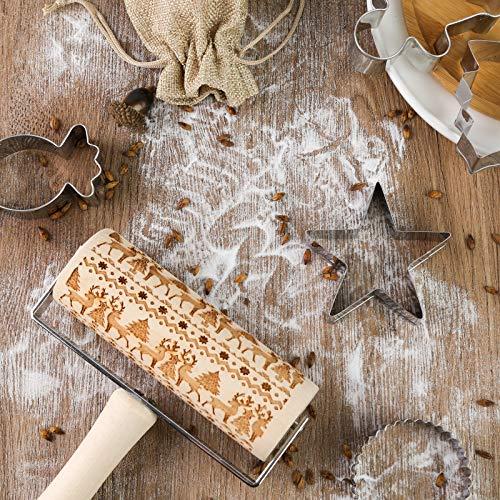 Koogel Weihnachten Präge Nudelholz, 5 STK. Ausstechformen 3D Holz Nudelholz mit Weihnachtsbaum Hirsch Schneeflocke Symbole für Fondant Teig Pizza Amygline Keks