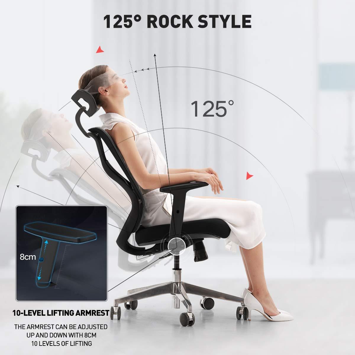 Hbada Ergonomisk kontorsstol med ryggstöd, justerbart nackstöd säte cusion och armstöd, andningsbar nät hög rygg, justerbar datorstol, svart Svart