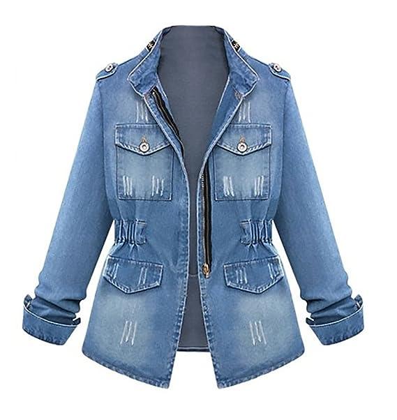 31073acead88 Giacca Jeans Donna Autunno Taglie Forti Moda Giovane Eleganti Cappotto  Ragazza Denim Giacche Manica Lunga Blu Sciolto Giubbotto Primavera Classico  Tasche ...