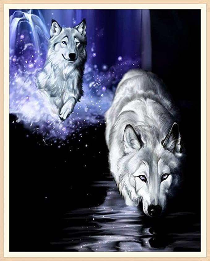 Sunnay Diamond Painting Set,Wolf,5D Diamant Painting Kaufen Full Stickerei Gro/ß 3D Bilder DIY Diamonds Shop,30 x 40 cm