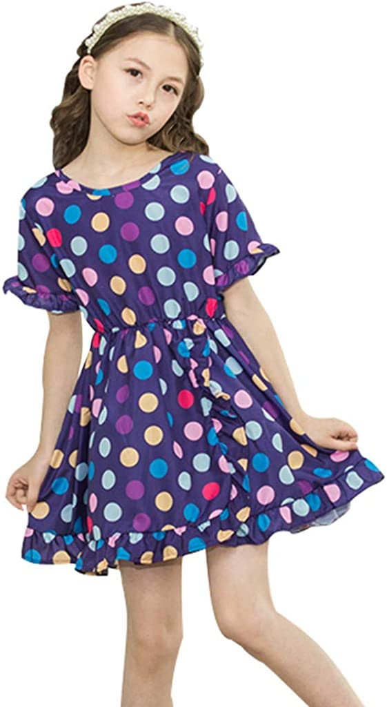 Toddler Grils Plaid Polka Dot Skirt Princess Dresses Elegant Party Outfits Sundress Lonshell 1-4 Years Children Baby Casual Clothes Pleated Dresses Costume Short Sleeve One Piece