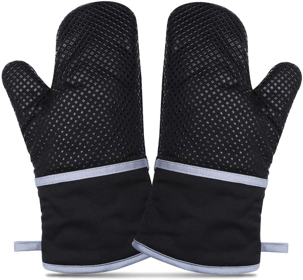 EZONTEQ Oven Mitts, Kitchen Microwave Bake Gloves Pot Holders Heat Resistance of Silicone Non-Slip Surface with Potholder 500 F Heat Resistant Cotton Infill for BBQ Cooking Baking Grilling