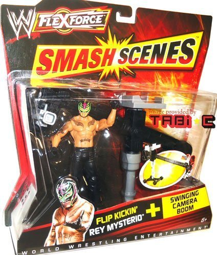 WWE FlexForce Smash Scenes Flip Kickin' REY MYSTERIO (619 Black Outfit) Wrestling Action Figure & Swinging Camera Boom Accessory (Ring Rumble)