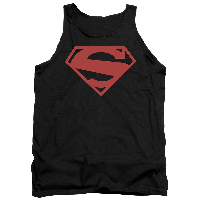 Superman DC Comics Classic New 52 S Shield Logo Red On Black Adult Tank Shirt