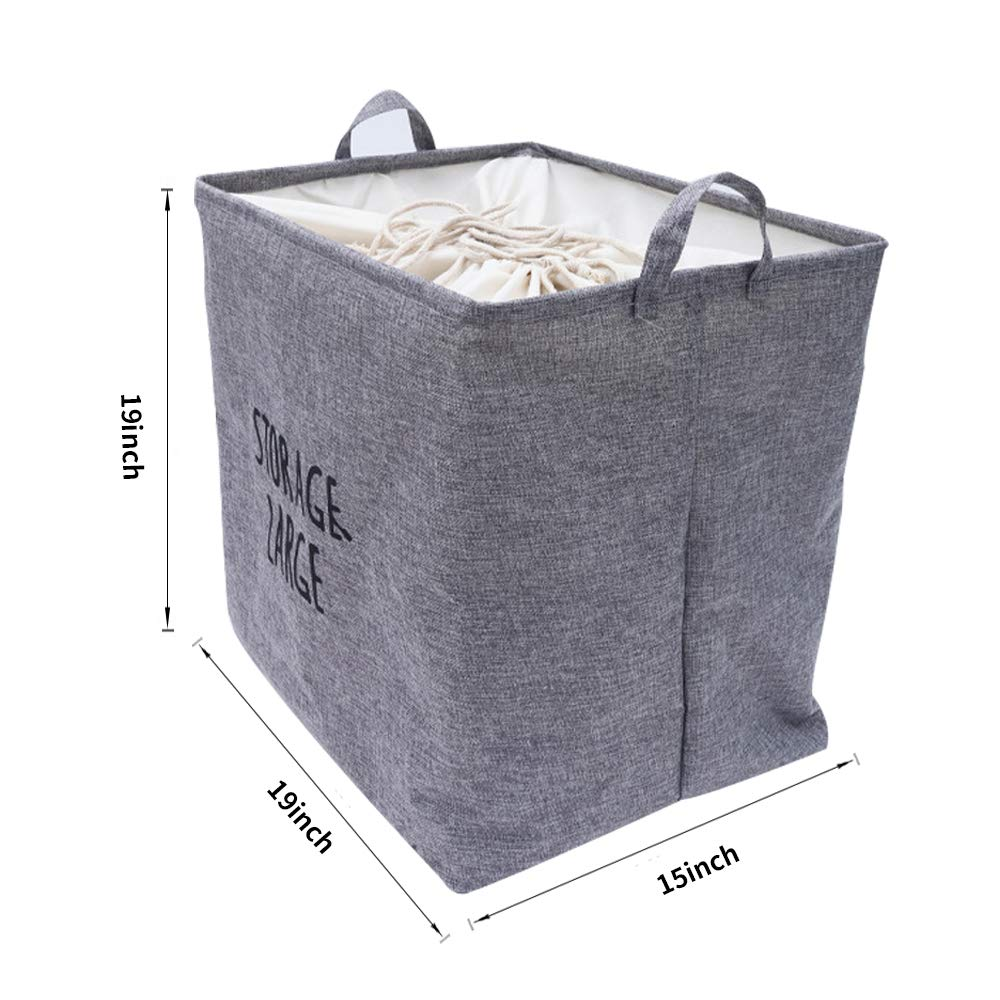 Grey, 87.5L Toys Laundry Large Laundry Hampers Canvas Fabric Laundry Basket with Waterproof Inner,Collapsible Storage Bin with Handles and Drawstring Closure,for Bedroom Clothes