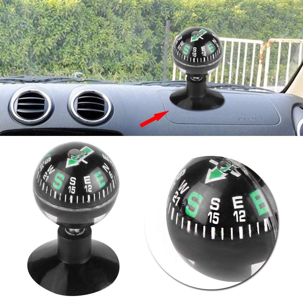 Qiilu Suction Cup Mini Compass Pocket Hiking Voyager Compass Ball Digital Navigation Compass Ball for Marine Boat Truck Car Outdoor