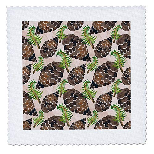 3dRose Anne Marie Baugh - Christmas - Chic Image Of Watercolor Pinecones Pattern - 22x22 inch quilt square (qs_318524_9) ()