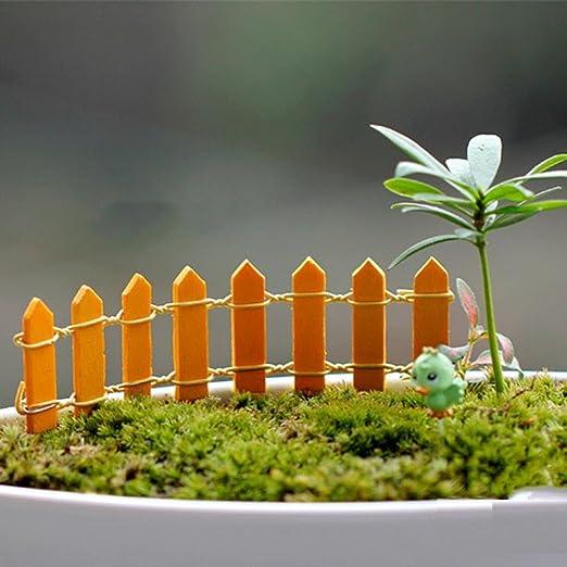 bleumoo – Juego de miniatura pequeño jardín miniatura de valla de madera adorno de decoración para el jardín de hadas Micro Dollhouse Planta Maceta Bonsai terrario DIY: Amazon.es: Hogar
