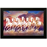SAF Framed 7 Running Horses Vastu Painting for Home and Office (35x2x50cm)
