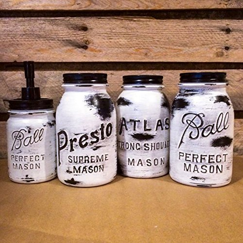 Vintage Mason Jar Canister and Soap Dispenser Set in distressed White and Black: 1920s Atlas Strong Shoulder Mason Jar, Ball Perfect Mason Jars, Presto Supreme Mason (Atlas Strong Shoulder)