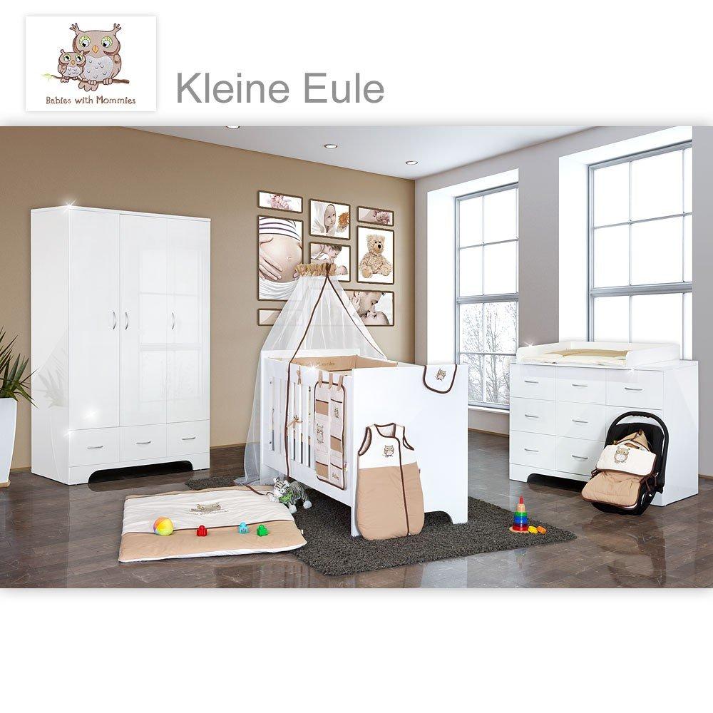 Hochglanz Babyzimmer 11-tlg. mit Kleine Eule in Beige