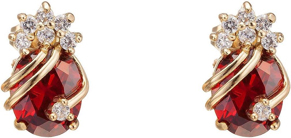 Yazilind Pendientes de oro elegante 18K plateó el circonio cúbico multicolor para la Mujer