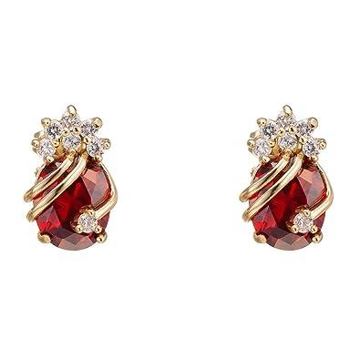 Yazilind Elegant 18K Gold Plated Cubic Zirconia Multicolor Stud Earrings for Women 1hSjYrLS