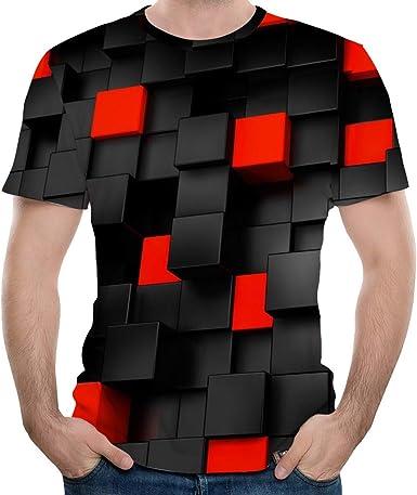 OPAKY Moda Hombre Impresión en 3D Tees Camisa Camiseta de Manga Corta Blusa Tops Camiseta Básica De Moda Slim Fit Camisas Casual: Amazon.es: Ropa y accesorios