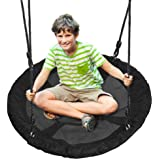 Outdoor Spinner Saucer Tree Swing - Hanging Tree Round Circular Flying Saucer in Rope Straps w/ Cushion Padded Metal…