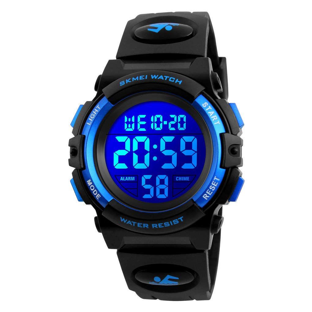 Venhoo Kids Watch Digital Outdoor Sport Waterproof 7 Colors EL-Lights Electrical Watches with Alarm Luminous Stopwatch Casual Child Wrist Watch for Children Boys Girls-Blue by Venhoo