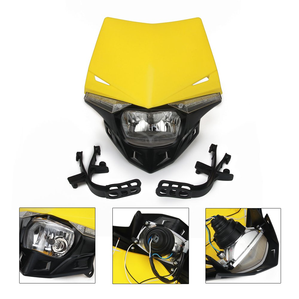 Yellow Universal Led Headlights Headlamp Street Fighter Dr250 Wiring Diagram For Suzuki Rm85 125 250 Rmz250 450 Rmx250 Drz400 Motocross Enduro Automotive