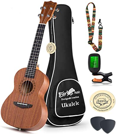 correa para afinador de cejillas Lotmusic ukelele bar/ítono caoba 76 cm Ukelele para principiante con bolsa de concierto