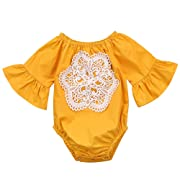 Floral Newborn Kid Baby Girl Infant Romper Jumpsuit Bodysuit Clothes Outfit 0-24 M (0-6 Months, Yellow)