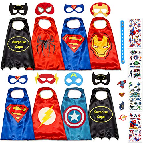 Dropplex 8 Superhero Capes for Kids - Super Hero Toys & Costumes Birthday Party Supplies (8 Pack -