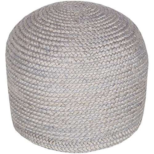 Surya TPPF-004 100-Percent Jute Pouf, 20-Inch by 20-Inch by 14-Inch, Gray from Surya