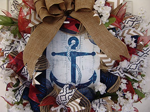 Nautical-Anchor-Themed-Deco-Mesh-Door-Wreath-4th-of-July-Memorial-Day-Independance-Day-Ocean-Beach-Gift-Spring-Summer-Everyday