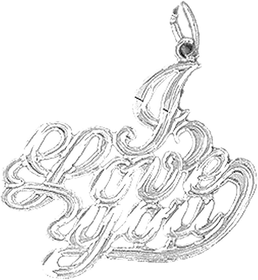 Sterling Silver 925 I Love You Pendant Jewels Obsession I Love You Pendant 25 mm