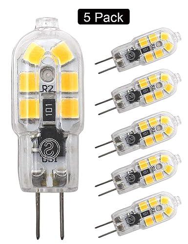 JCKing (Paquete de 5) 2W G4 LED Lámpara 12 SMD 2835, CA DC