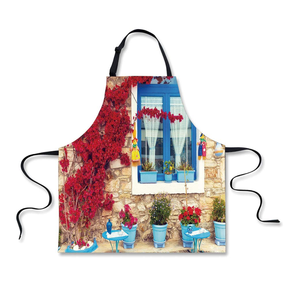 iPrint Personality Apron,Coastal Decor,Italian Decor Mediterranean House with Greek Windows,Light Brown White and Navy Blue,Picture Printed Apron.29.5''x26.3''