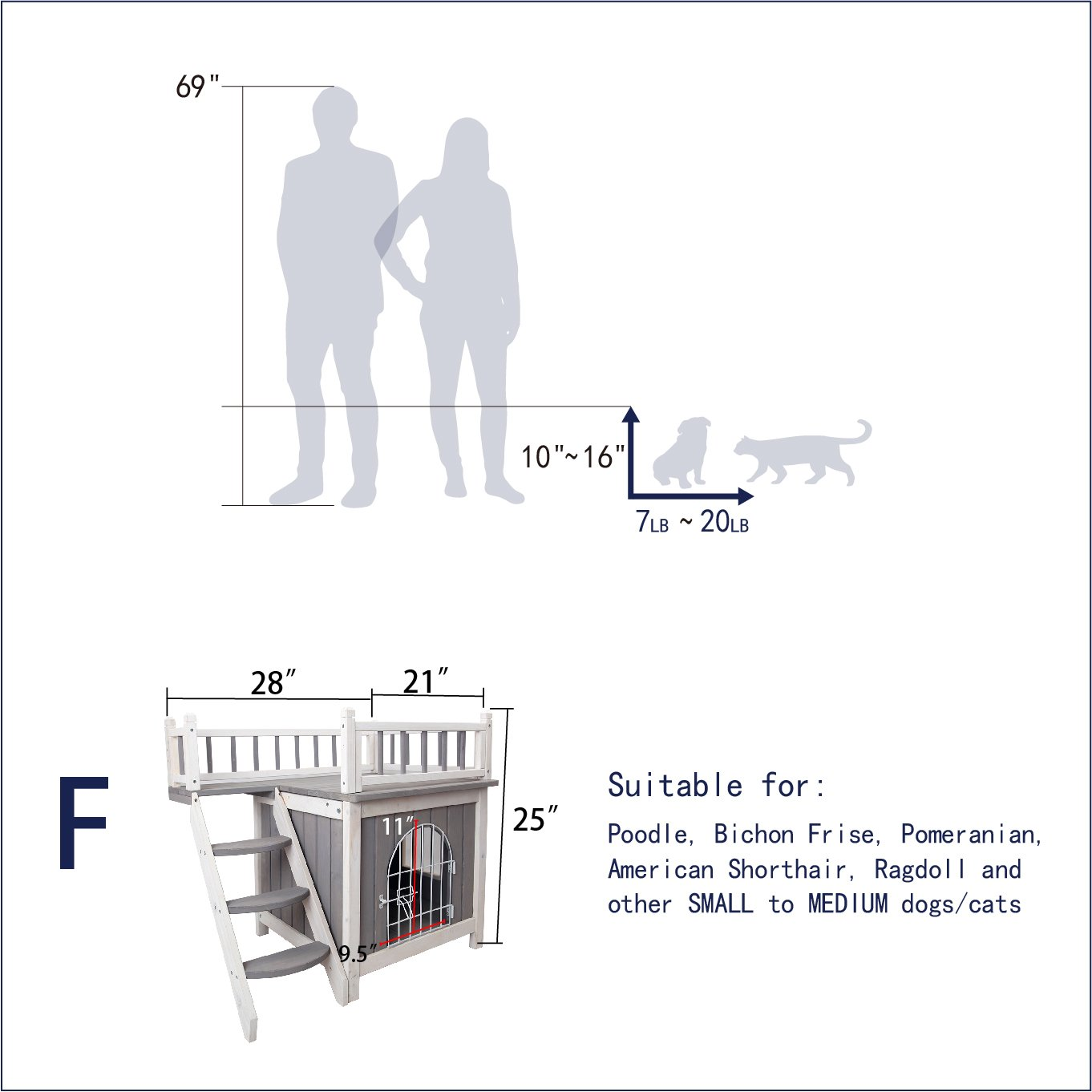 Petsfit Indoor Wooden Dog Pet Cat House With Stairs Beds Furniture Zuiverlucht Cat Trees Condos