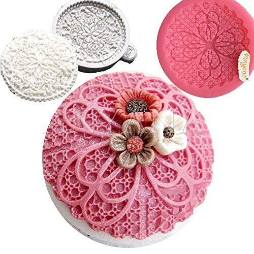 Anyana round floral flower lace mould cake Fondant impression gum paste mold for Sugar paste gumpaste cupcake decorating topper decoration sugarcraft sugar biscuit decor set of (Lace Biscuit)