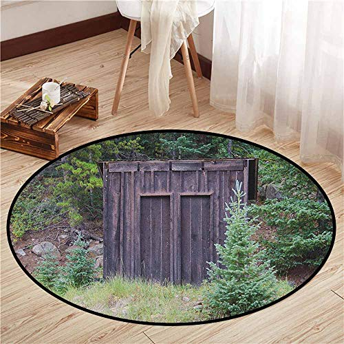 (Custom Rugs,Outhouse,Farm Life House Wooden Door of Cottage Hut in Woodland Leaves Art Print,Children Bedroom Rugs,5'3