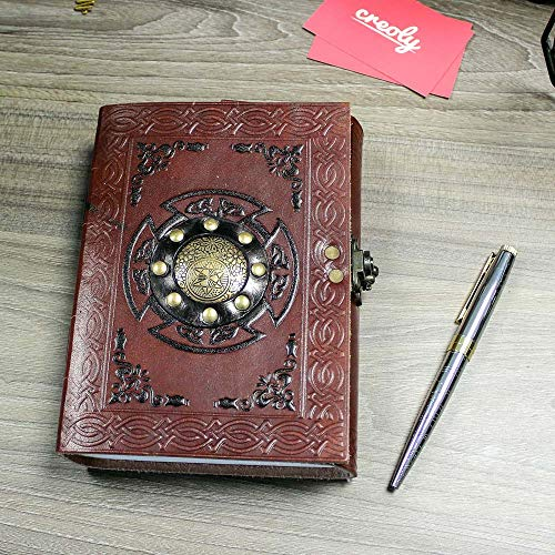 Spell Book of Shadows - Unique Leather Bound Blank Grimoire Journal Notebook Diary With Lock | A5 (6 x 8 inches) by Creoly (Image #3)